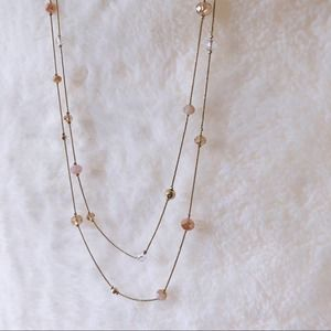 LOFT Pink & Gold Long Bead Chain Double Necklace